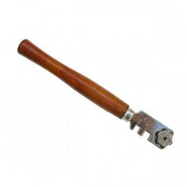 Rezač skla drevená rukoväť, 6 rezných koliesok