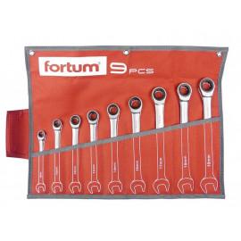 Račňové očko-vidlicové kľúče 8-19mm, 9-dielna sada, 4720104 FORTUM