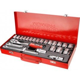 """Kľúče nástrčné 1/2"""", sada 24ks, kovový kufor, CrV, 8818365 EXTOL"""