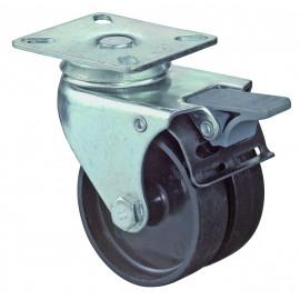 Dvojité prístrojové koliesko 50 mm otočná kladka s brzdou