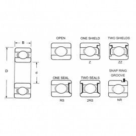6404 2Z jednoradové guľkové ložisko 6404 2Z štandardnej kvality 6404 2Z - Valivé ložiská P&M