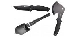 Turistické nože, lopatky, sekery